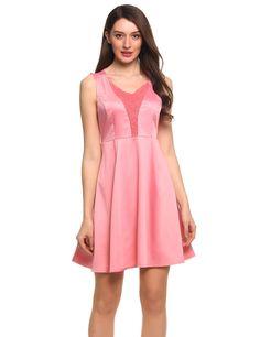 Black Plus Size Lace Patchwork V-Neck Sleeveless Skater Party Dress