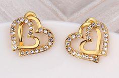 Exquisite Women 18K Gold Plated Half Diamond Double Open Heart Stud Earrings