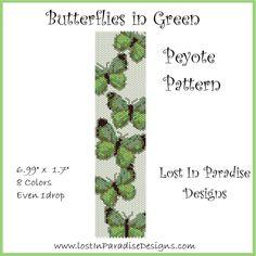 Butterflies in Green Peyote Bracelet Pattern by Lost in Paradise Designs