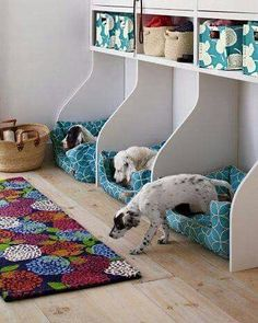 DIY Triplet beds with cubbies