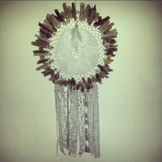 White lace, driftwood and doily dreamcatcher by Driftwood Gypsy