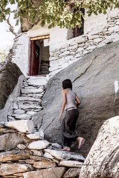 Climbing the stairway to heaven-food is ready-Ikaria Island, Greece-Theoskepasti Ikaria Greece, Greece Islands, Stairway To Heaven, Greece Travel, Beautiful Islands, Stairways, Santorini, Scenery, Places To Visit