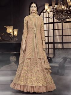 Peach embroidered jacket style suit for women available at Inddus. This elegant set comprises a net anarkali kurta with net pant also paired with net dupatta. Eid Dresses, Party Wear Dresses, Indian Dresses, Indian Clothes, Lehenga Suit, Lehenga Style, Salwar Suits, Lehenga Choli, Designer Anarkali Dresses