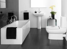 Bathroom, Black And White Small Master Bathrooms Ideas: Modern Master Bathrooms with The Awesome Arrangement