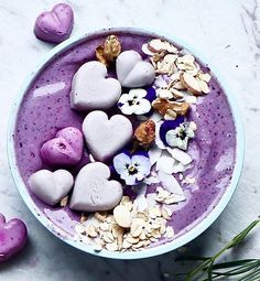 Blackberry and rose smoothie bowl muesli and raw cake hearts by @panaceas_pantry