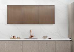 Wood veneer and aged brass fronts Wood Veneer, Vanity, Brass, Doors, Cabinet, Bathroom, Storage, Kitchens, House