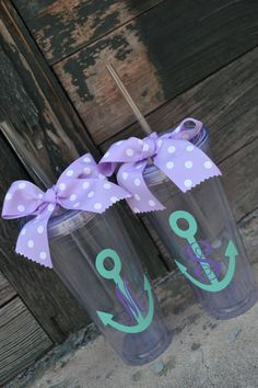 2 (TWO ) CLEAR Personalized - 20oz - Tumbler cup with Lid & Straw - Nautical - Bridesmaid Gift on Etsy, $30.00