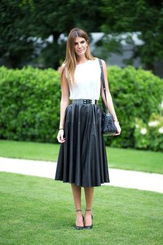 Flowing black leather midi skirt