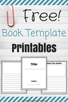 These free book template printables are ready to print and go! 3rd Grade Writing, Kindergarten Writing, Kids Writing, Teaching Writing, Writing Activities, Writing A Book, Writing Ideas, Literacy, Book Writing Template