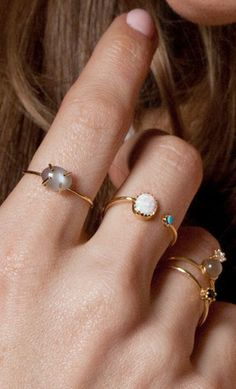 a5ef8b46f Delicate stacking rings @lakaiserjewelry Emerald Rings, Gold Rings,  Sapphire Pendant, Delicate Rings
