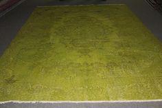 GREEN Carpet Handmade Vintage Rug 9x6 Over dyed Rug Vintage Overdyed Carpet Decorative Carpet Area Rug Living Room Carpets Designer Rug