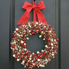 Christmas Wreath - Red and White Wreath - Holiday Wreath