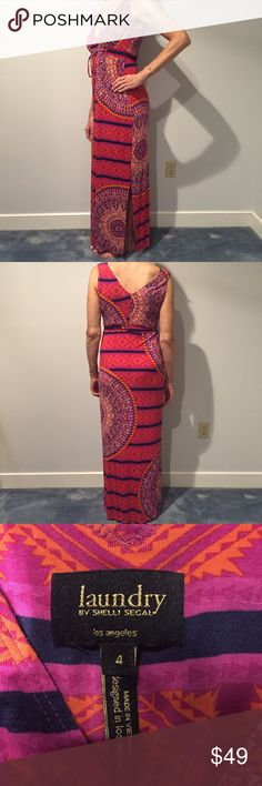 """Laundry Patterned Maxi Dress Floor length Laundry by Shelli Segal maxi dress in beautiful summer colored pattern. Drawstring empire waistband with elastic. 96% rayon, 4% spandex. Model is 5'8"""". Only worn and washed twice, great condition! Laundry by Shelli Segal Dresses Maxi"""