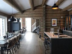 Rustic Cabin Decor, Lake Cabins, Modern Rustic, Kitchen, Table, House, Furniture, Cozy, Home Decor