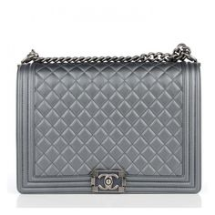 41e1f936410af CHANEL Metallic Calfskin Quilted Large Boy Flap Dark Silver ❤ liked on  Polyvore featuring bags