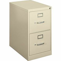 basyx™ Vertical File Cabinet, 22in.  2-Drawer, Letter Size, Putty