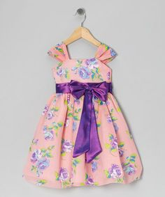 Take a look at this Coral & Lilac Floral Bow Dress - Infant, Toddler & Girls by Kid Fashion on #zulily today!
