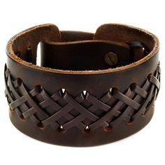 This brown leather strap bracelet cuff is adjustable to fit your wrist. The leather strands are intricately interwoven on a thick leather strip which will look even better with age. This bracelet can be worn by itself or with other wrist accessories.