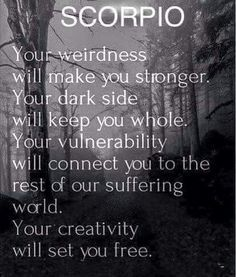 Tips for Scorpio SCORPIO: Your weirdness will make you stronger, your dark side will keep you whole. Your vulnerability will connect you to the rest of our suffering world. Your creativity will set you free. Scorpio Traits, Horoscope Scorpio, Scorpio Zodiac Facts, Scorpio Quotes, Zodiac Quotes, Astrology Zodiac, Scorpio Qualities, Quotes Quotes, Weird Quotes
