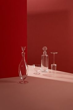 Red Tones with Glass Vessels Object Photography, Still Life Photography, Product Photography, Wallpaper Stores, Prop Styling, Commercial Photography, Glass Design, Set Design, Art Direction