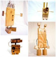 M Design's wood robots idea came alive the day that her boyfriend started to wonder what to do with those …
