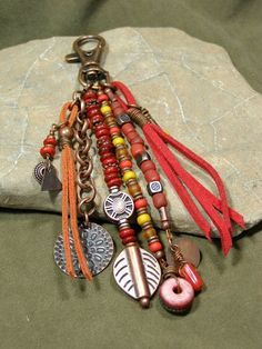 Clip On Purse Charm - Zipper Pull - Key Chain Charm - Charm Tassel - Southwest Charms - Belt Loop Clip - Native Tribal Charms Beaded Jewelry, Handmade Jewelry, Leather Tassel, Suede Leather, Bijoux Diy, Jewelry Crafts, Creations, Jewelry Design, Jewelry Making