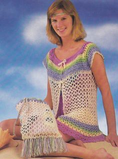 Crochet Pattern ~ BEACH ENSEMBLE Cover Up & Bag ~ Instructions