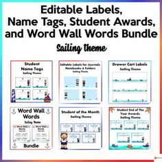 Make your classroom fun and bright with our sailing theme for the school year and if you have summer classes.This zip file includes 6 of our resources.A. Editable Name TagsThese editable name tags are a must-have throughout the school year. They could be printed out on a paper board and laminated.Th...