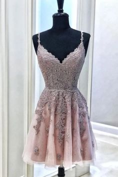 Pink Tulle Lace Appliques Spaghetti Straps Short Prom Dress, Mini Party Dress This dress can be made with custom sizes and color. Burgundy Homecoming Dresses, Hoco Dresses, Dance Dresses, Sexy Dresses, Cute Dresses, Formal Dresses, Elegant Dresses, Summer Dresses, Wedding Dresses