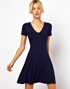 ASOS | ASOS Skater Dress With V Neck And Short Sleeves.