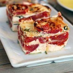 Parmigiana di zucchine e pomodori al forno senza frittura