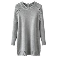 Gray Long Sleeve Zipper Back Tunic Sweater ($25) ❤ liked on Polyvore featuring tops, sweaters, gray sweater, grey long sleeve top, grey sweater, gray top and long sleeve tops