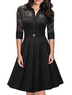 Black Hollow Out Lace Patchwork Vintage Graceful Lapel Skater Dress