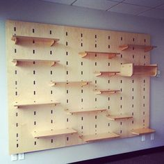 A Kerfwall. What a good idea. Modular shelving, a coat rack, just a few options for standard components.  We also do custom components that fit into the system!  By Kerf Design, made in Seattle, Washington kerfdesign.com