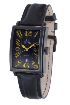 Gevril Men's 5009A Avenue of Americas Automatic-Date Rectangular Black PVD Sapphire Crystal Orange Numbers Alligator Pattern Leather Watch  for more details visit :http://watch.megaluxmart.com/