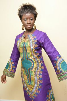 A Beautiful Dashiki Dress with long bell sleeves by AnnaTeiko ~Latest African… African Inspired Clothing, African Print Fashion, Africa Fashion, Ethnic Fashion, Fashion Prints, African Prints, Men's Fashion, African Attire, African Wear