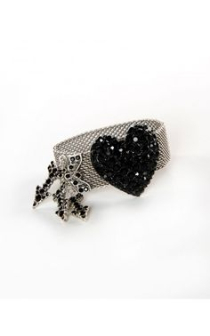 Pinup Girl Clothing- Veronica Heart Bracelet in Black Crystal   Pinup Girl Clothing