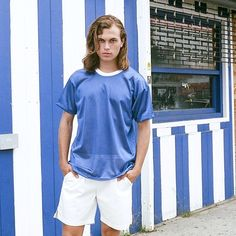 Mike in blue & white athletic basics.