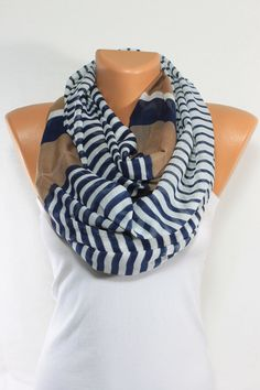 Camel Navy Scarf Stripped Scarf Lightweight So Soft Spring Scarf Summer Scarf Oversize Cotton Scarf Gift Ideas For Her Mother's Day ESCHERPE on Etsy, $16.90