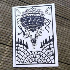 Balloon Ride papercut  card by FolkArtPapercuts on Etsy, $4.99