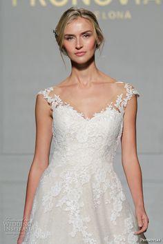 "Pronovias 2016 Wedding Dresses — New York Bridal Runway Show | Wedding Inspirasi | ""Primadona"" -- Lovely, Classic, A-Line Lace Wedding Gown Showcasing Capped Lace Sleeves, V Neckline, Chapel Length Train>>>>"