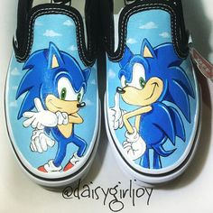 Custom hand painted Sonic The Hedgehog Toddler Children's sh.-Custom hand painted Sonic The Hedgehog Toddler Children's shoes - Painted Canvas Shoes, Custom Painted Shoes, Painted Sneakers, Hand Painted Shoes, Tennis Vans, Slip On Tennis Shoes, Custom Vans Shoes, Custom Sneakers, Sonic Shoes