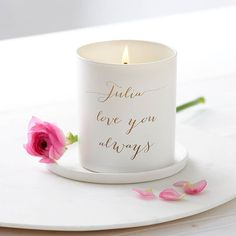 Personalised Glow Through Love You Candle  Beautifully scented this hand-poured glass candle makes a unique gift and treasured keepsake. Find it at @lilybellelondon  #candles #personalisedcandle #candlemaking #scentedcandle #weddinggift #weddingcandels #candles #candlelight #tablesetting #tabledecor #thankyougift #wedding #handmadewithlove #gifts #personalisedgifts #stylematters #amatterofstyle