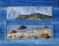 A memory of the lovely turquoise seas and silvery sands on the Isles of Scilly. This little quilt was machine appliquéd and hand and machine quilted.  Quilts UK judges merit, miniatures 2009.