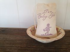 Its a Baby Girl Shower Muslin Favor Bag Little Girl with Basket Stamp Set of 10 by SweetThymes, $15.00