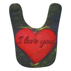 Painted Heart Baby Bib  #Heart #Love #Valentine #Bib #Baby #Infant