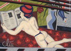 JACQUELINE DITT - Reading the News A4 DRUCK n.Gemälde Akt nude art Bilder Giclee