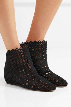 ALAÏA Laser-cut suede wedge ankle boots