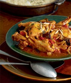 Moroccan Chicken with Eggplant, Tomatoes, and Almonds Recipe | Epicurious.com