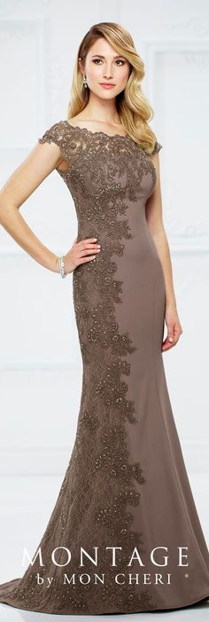 Formal Evening Gowns by Mon Cheri - Fall 2017 - Style No 217954 - mocha crepe and lace fit and flare evening dress with illusion sleeves